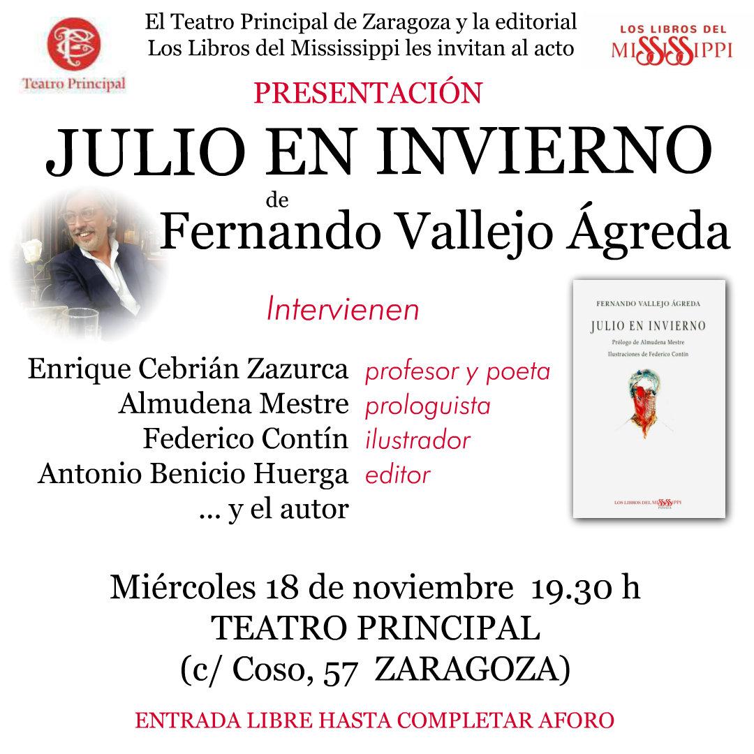FERNANDO VALLEJO ÁGREDA, presenta su libro: JULIO EN INVIERNO