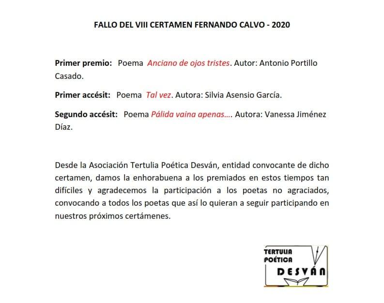 ANTONIO PORTILLO CASADO, ganador del VIII CERTAMEN FERNANDO CALVO 2020
